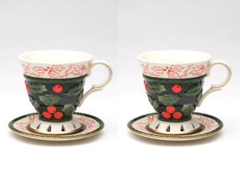 Holly and Berries Earthenware Cup and Saucer, Set of 4