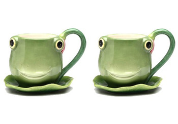 Fairy Frog Earthenware Cup and Saucer, Set of 4