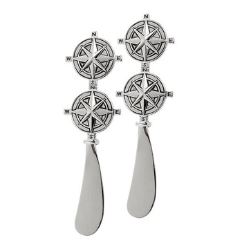 Compass Rose Metal Cheese Spreaders, Set of 4