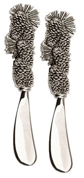 Pine Cone Metal Cheese Spreader, Set of 2
