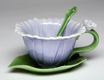 Dahlia Flower Porcelain Cups, Saucers and Spoons Set of 6
