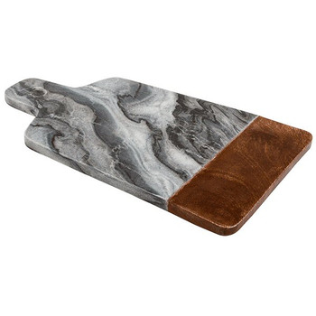 Black Marble Serving Board with Sheesham Wood Accent