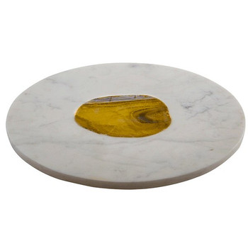 White Marble Round Serving Board with Agate Stone Inlay