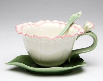 Carnation Flower Porcelain Cups, Saucers and Spoons, Set of 6