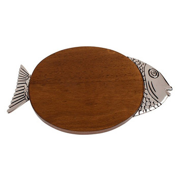Oval Fish Wood Serving Board with Pewter Finish Accents