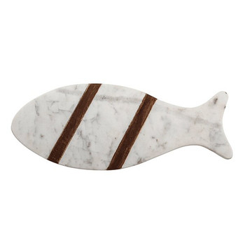 White Marble Fish Serving Board with Sheesham Wood Accent