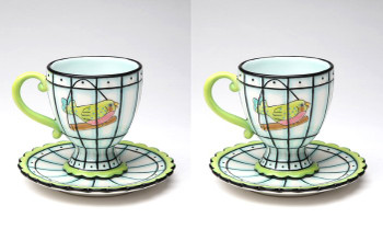 Bird Earthenware Cup and Saucer, Set of 4
