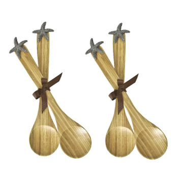 Star Fish Bamboo Serving Spoon, Set of 4