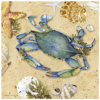 Blue Crab II Ceramic Trivet, Set of 2