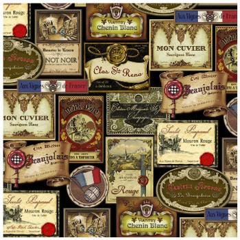 French Wine Labels Ceramic Trivet, Set of 2