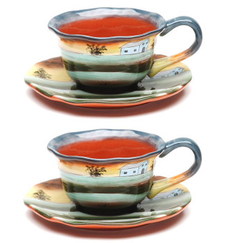 Sunrise Earthenware Cup and Saucer, Set of 4