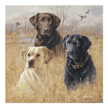 Marsh Masters Three Dogs Ceramic Trivet by Jim Killen, Set of 2