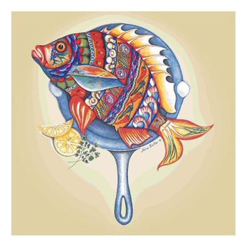 Fish Fry Ceramic Trivet by Nora Butler, Set of 2