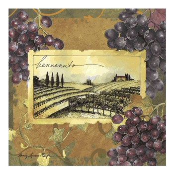 Vineyard Welcome Ceramic Trivet by Sandy Lynam Clough, Set of 2