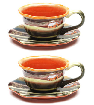 Dusk Earthenware Cup and Saucer, Set of 4