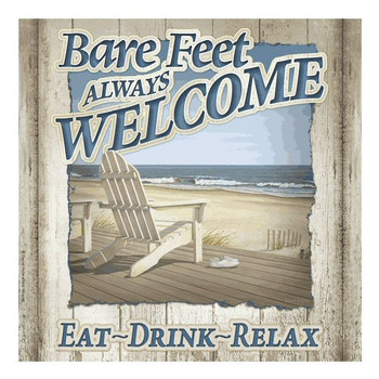 Bare Feet Always Welcome Ceramic Trivet by Daniel Pollera, Set of 2