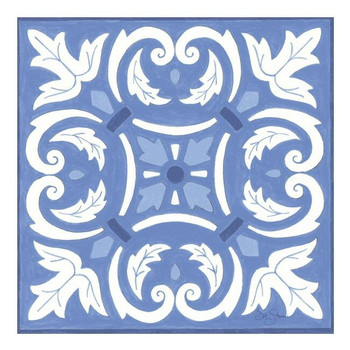 Blue and White Scrollwork Ceramic Trivet by Deb Strain, Set of 2