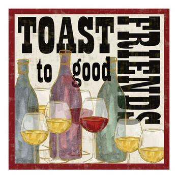 Toast to Good Friends Ceramic Trivet by Tara Reed, Set of 2