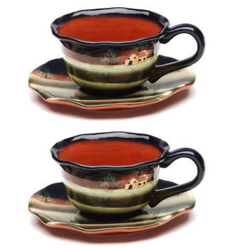 Evening Earthenware Cup and Saucer, Set of 4