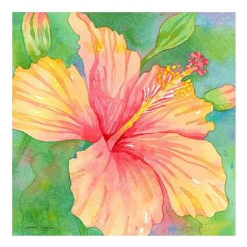 Hibiscus Flower Garden Ceramic Trivet by Andrea Tachiera, Set of 2