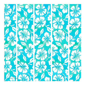 Teal Hibiscus Garden Pattern Trivet by Andrea Tachiera, Set of 2