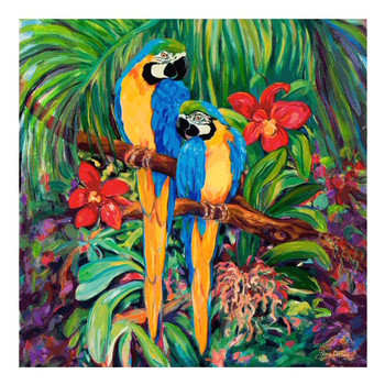 Blue and Golds Parrot Bird Ceramic Trivet by Gloria Clifford, Set of 2