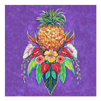 Welcome Pineapple I Ceramic Trivet by Gloria Clifford, Set of 2