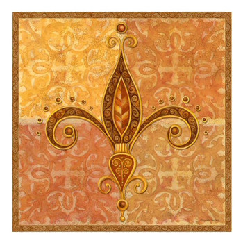 Golden Jewel Fleur De Lis Ceramic Trivet by Jackie Decker, Set of 2