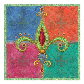 Bright Jewels Fleur De Lis Ceramic Trivet by Jackie Decker, Set of 2