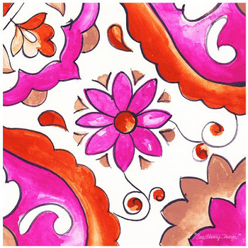 Flower Square Ceramic Trivets, Set of 2