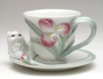 Persian Cat Porcelain Cups and Saucers, Set of 4