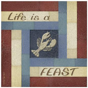 Life is a Feast Ceramic Trivet, Set of 2