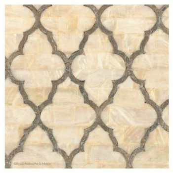 Mother of Pearl Ivory Ceramic Trivets, Set of 2