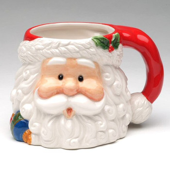 Jolly Santa Claus Porcelain Mugs, Set of 4