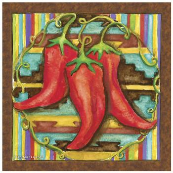 Chilis Ceramic Trivet, Set of 2