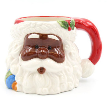African American Santa Porcelain Mugs, Set of 4
