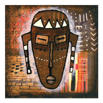 Tribal Mask I Ceramic Trivet by D. Davis, Set of 2