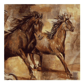 Equestrian II Horses Ceramic Trivet by Selina Werbelow, Set of 2