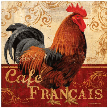 Cafe Francais Rooster Bird Ceramic Trivets by Conrad Knutsen, Set of 2