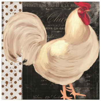 White Rooster Bird Cafe Ceramic Trivets, Set of 2