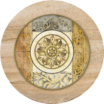Architectural Rosette Sandstone Trivet, Set of 2