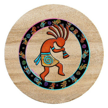 Kokopelli Toss Sandstone Trivet by Dan Morris, Set of 2
