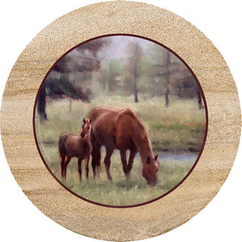 Mare and Foal Sandstone Trivet, Set of 2
