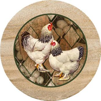 Chickens Sandstone Trivet, Set of 2
