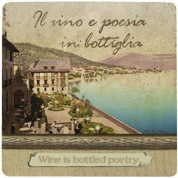 Italian Inspirations Bottled Poetry Travertine Stone Trivet, Set of 2