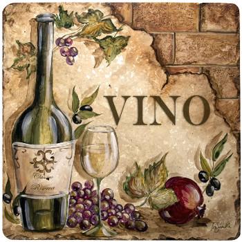 Vino Travertine Stone Trivet, Set of 2