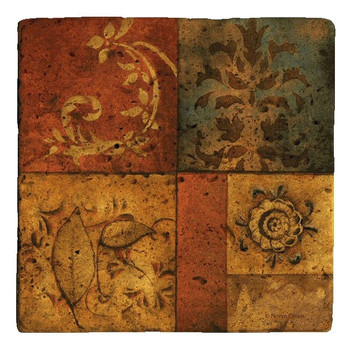 Organic Montage I Travertine Stone Trivet by Norm Olson, Set of 2
