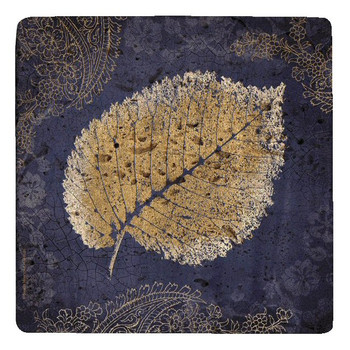 Glowing Elm Leaf Travertine Stone Trivet by Booker Morey, Set of 2
