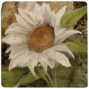White Sunflower Travertine Stone Trivets, Set of 2