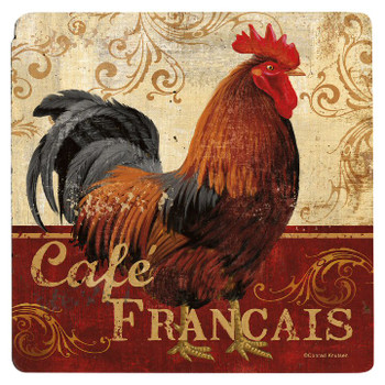 Cafe Francais Rooster Travertine Stone Trivet, Set of 2